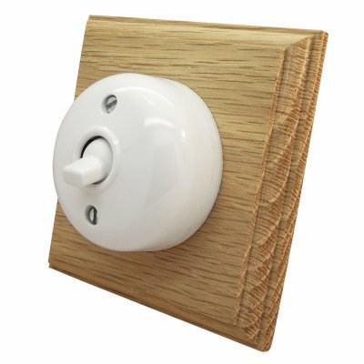 Vintage Dome (Bakelite) Dome | Natural Oak  Sockets & Switches