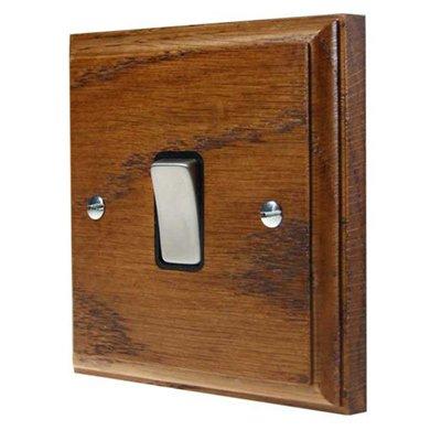 Jacobean Medium Oak | Satin Chrome  Sockets & Switches