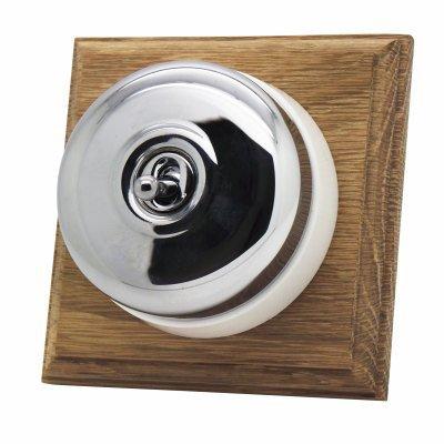 Vintage Dome (Metal) Polished Chrome / Natural Oak  Sockets & Switches