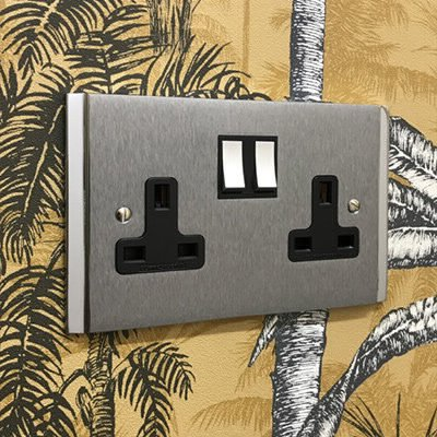Art Deco Dual Satin Chrome  Sockets & Switches