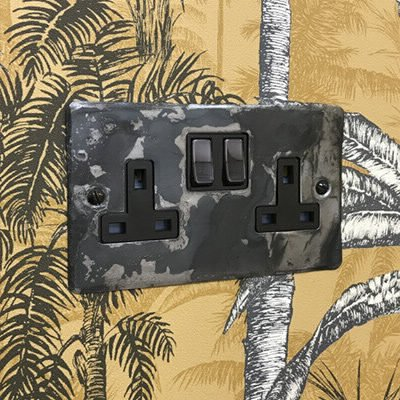 Flat Vintage Rustic Pewter  Sockets & Switches
