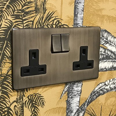 Screwless Supreme Antique Pewter  Sockets & Switches